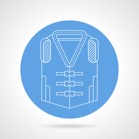 waistcoat: Blue round vector icon with white line safe waistcoat on gray background.