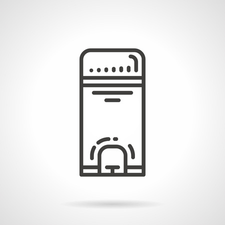 wastebasket: Black flat line vector icon for wastebasket with pedal on white background. Illustration