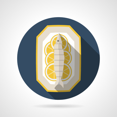 prepared: Single flat style colored round vector icon for prepared fish on plate with lemon on gray background with long shadows.