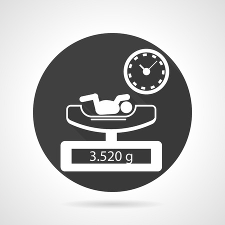 premature: Single flat black round vector icon with white contour elements of weighing newborn procedure on gray background.