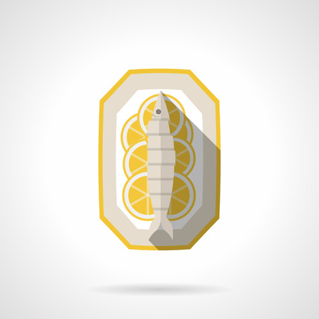 cooked: Single flat vector icon in yellow color for dish with cooked fish with lemon on white background with long shadow.