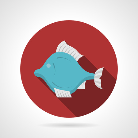 aquaculture: Single red round flat color style vector icon for blue exotic fish with white fins on gray background with long shadows. Illustration
