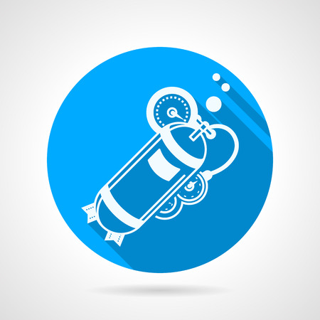 aqualung: Single blue round flat style vector icon with white contour aqualung with one cylinder, compressor and hose on gray background with long shadows. Illustration
