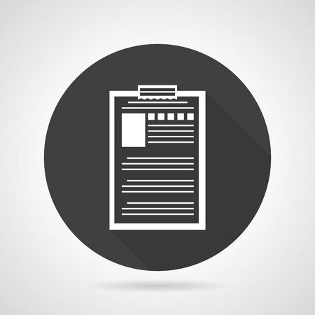 datos personales: Individual redonda icono negro del vector del estilo plano con archivo de documento contorno blanco con datos personales sobre fondo gris.