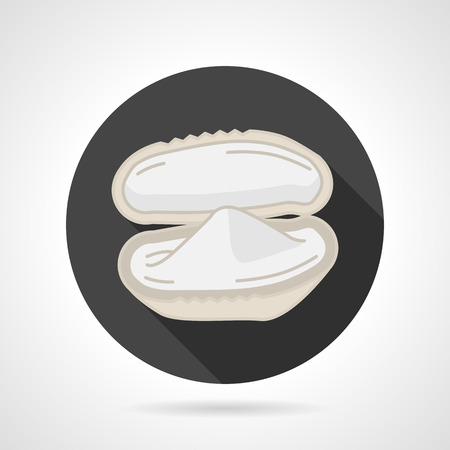 bivalve: Single black round flat style vector icon with white bivalve oyster or mussel for seafood menu on gray background.