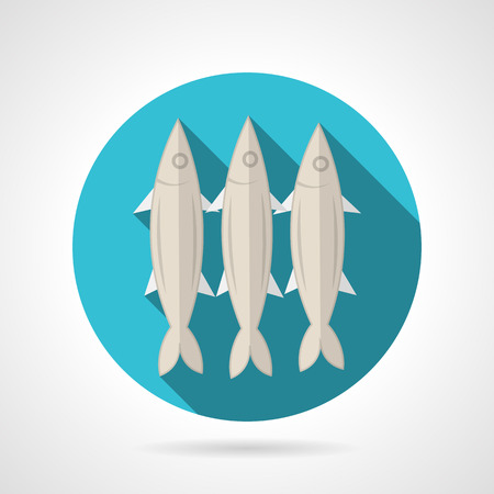 pilchard: Single blue round flat color style vector icon for three sardines on gray background with long shadows.