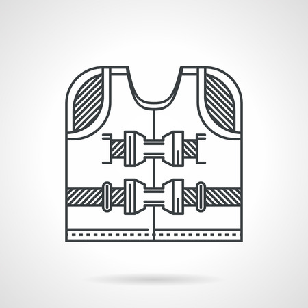 straps: Single black flat line style vector icon for life vest with straps on white background.