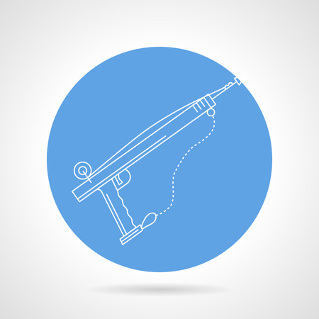 speargun: Single blue round vector icon with white line underwater hunting weapon on gray background. Illustration