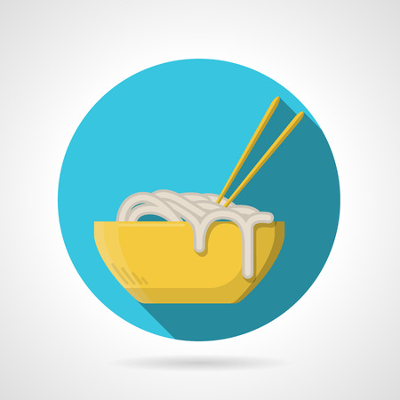 thai noodle: Single blue round flat color style vector icon for noodles yellow  bowl with chopsticks on gray background with long shadows. Illustration