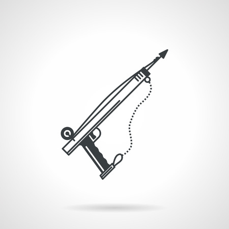 speargun: Single black flat line style vector icon for underwater fishing speargun on white background.