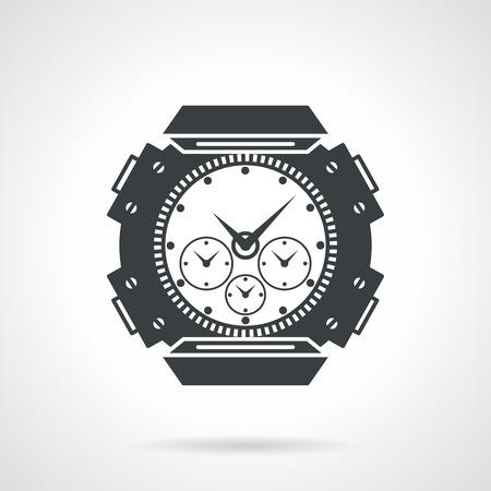 cronógrafo: Individual contorno negro iconos de vectores estilo plano de la muñeca reloj deportivo con cronógrafo en el fondo gris.