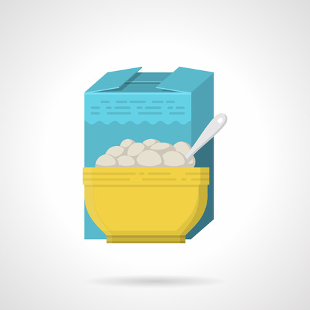 breakfast cereal: Single flat color style vector icon for breakfast cereal blue box and yellow bowl on white background.