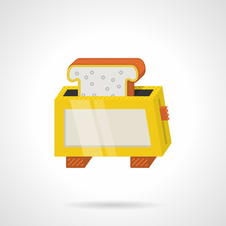 bread maker: Single flat color design vector icon for yellow toaster with bread slice on white background. Illustration
