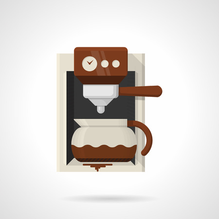 coffee maker machine: Single flat color design vector icon for automatic coffee maker machine and pot with coffee on white background.