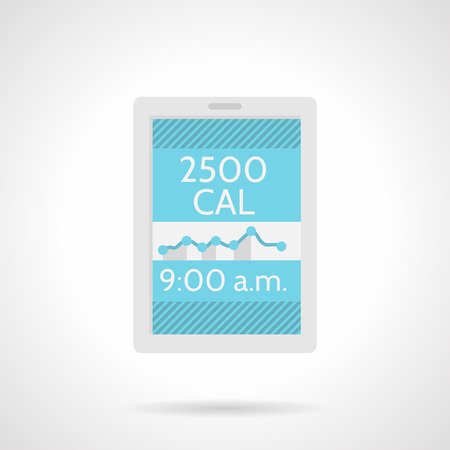 Single flat color design vector icon for calorie counter application for phone on white background. Vector