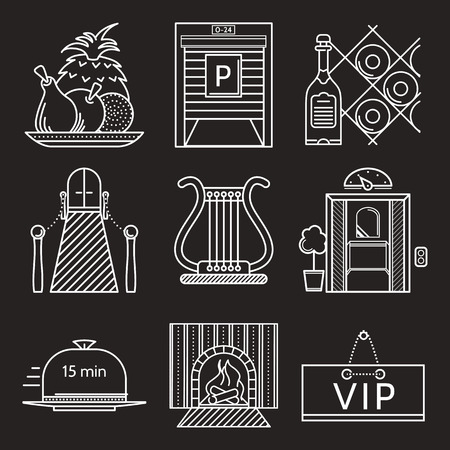 an exterior: Set of white flat line vector icons for restaurant exterior, interior and serving elements on black background.