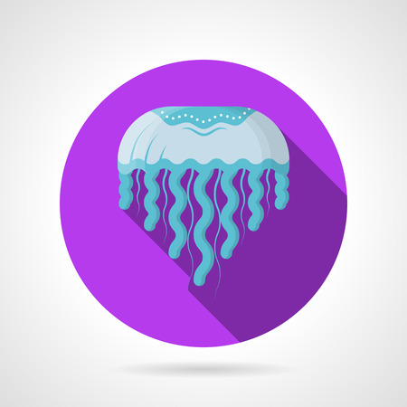 oceanography: Single purple round flat color design vector icon for blue jellyfish on gray background with long shadows.