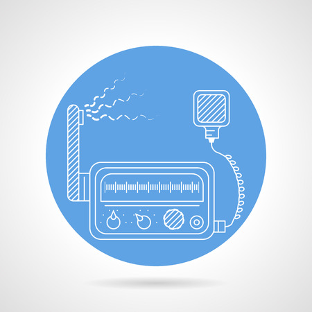 transceiver: Single blue round vector icon with white line VHF radio transceiver on gray background.
