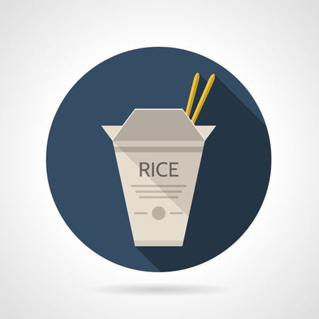 chinese take away container: Single blue round flat design vector icon for gray rice cardboard pack with chopsticks for takeaway menu on gray background with long shadows.