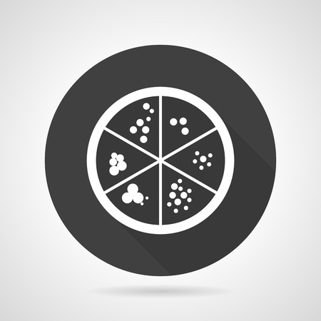 Single black round flat design vector icon with white contour laboratory dish with agar and bacteria colonies on gray background.
