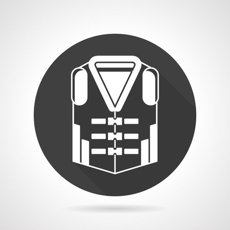 swimming belt: Single black round flat design vector icon with white silhouette life jacket on gray background.