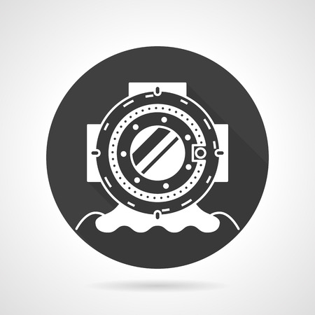 oceanography: Single black round flat design vector icon with white contour old style depth diving helmet on gray background.