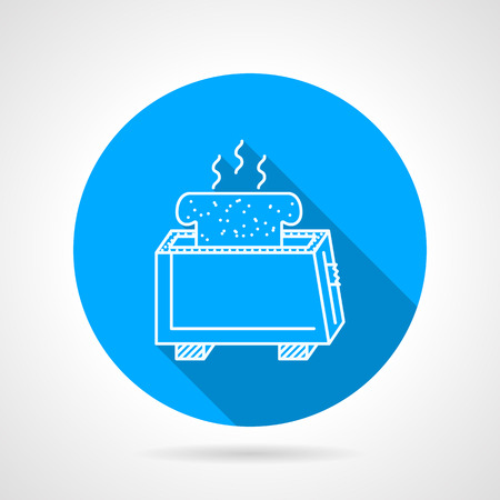toasted sandwich: Round blue flat vector icon with white line toaster with prepared hot toast on gray background with long shadows. Illustration