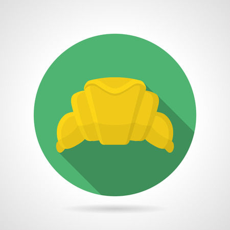 buttery: Round green flat color design vector icon for yellow fresh croissant for desserts menu on gray background with long shadows.