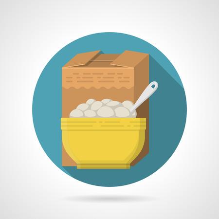 comiendo cereal: Color plano Ronda icono azul de diseño vectorial para la caja de color marrón y amarillo con un tazón de cereales de desayuno en el fondo gris con sombras largas. Vectores