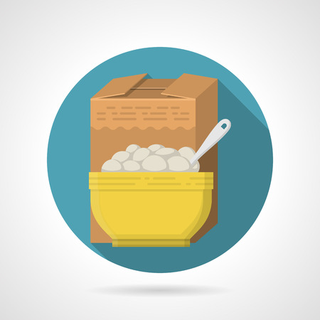 bowl of cereal: Round blue flat color design vector icon for brown box and yellow bowl with breakfast cereal on gray background with long shadows. Illustration