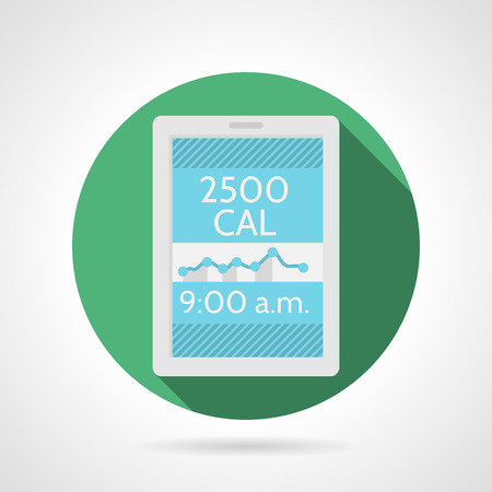 Round green flat color design vector icon for phone display with calorie control schedule on gray background with long shadows. Vector
