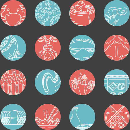 sardines: Set of vector flat red and blue round icons with white line abstract elements of seafood menu on black background.