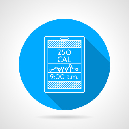 Round blue flat vector icon with white line calorie counter app for sport or diet on gray background with long shadows. Vector