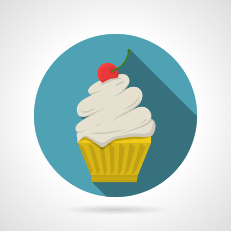 topped: Round blue flat color design vector icon for tasty cupcake with a cream and topped by cherry a rope on gray background with long shadows.