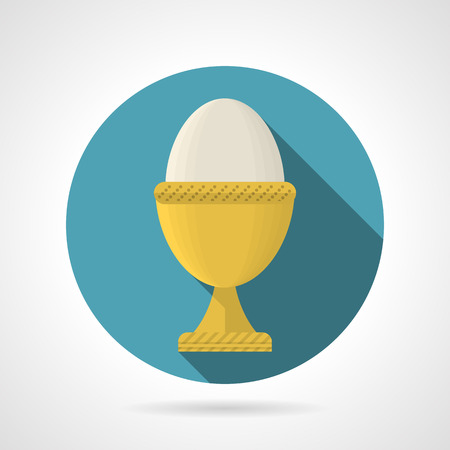 boiled egg: Round blue flat color design vector icon for boiled egg in yellow cup on gray background with long shadows.
