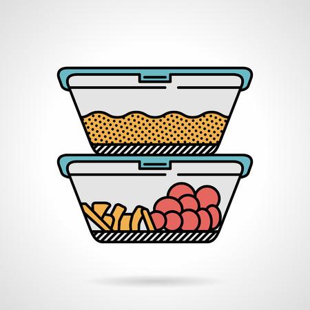 ベクトルは穀物、野菜や果物の白い背景の上のランチを 2 つのプラスチック容器の色アイコンをフラットなデザイン。