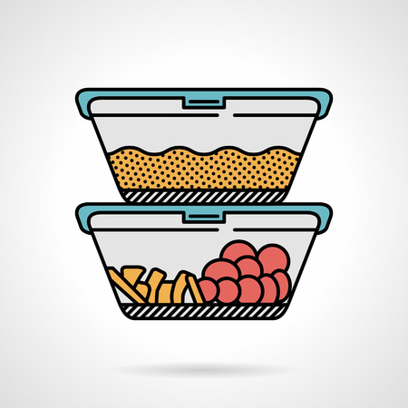 Vector flat design colored icon for two plastic containers with cereal, vegetables or fruits for lunch menu on white background.
