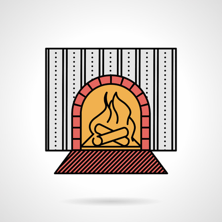 restaurant interior design: Single flat color design vector icon for fireplace and wall with striped wallpaper for restaurant or home interior on white background. Illustration