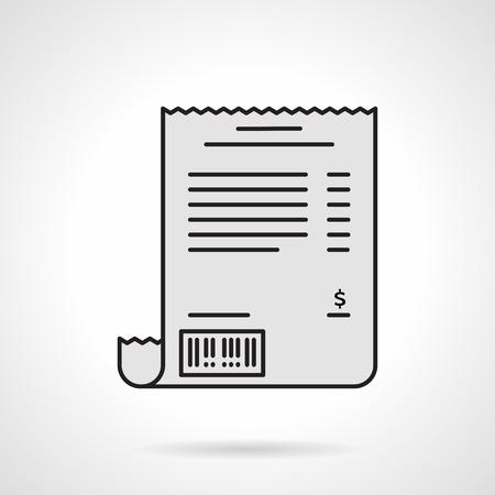restaurant bill: Single flat color design vector icon for receipt paper on white background. Illustration