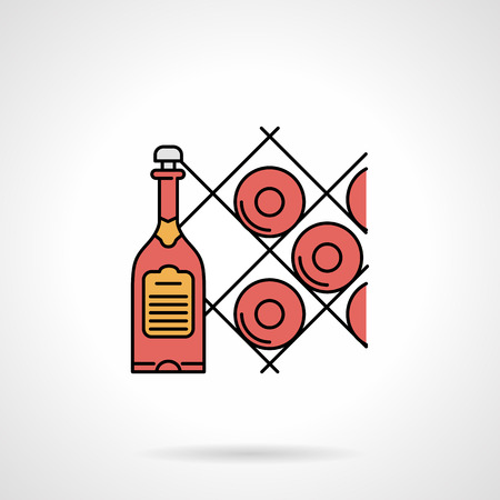 wine cellar: Single flat color design vector icon for rack with red wine bottles for cellar on white background. Illustration