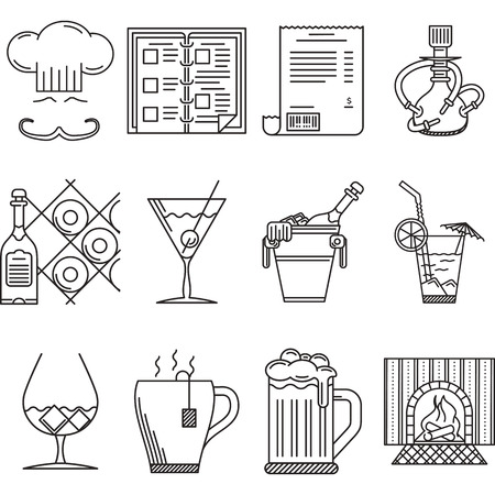 cocktails: Black linear icons vector collection of restaurant elements and beverage menu on white background.