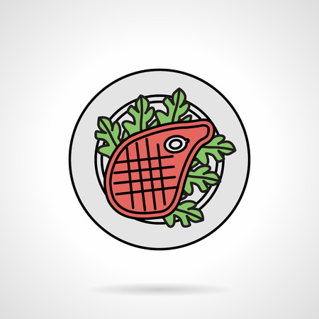 roaster: Single flat color design vector icon for dish with roaster steak with lettuce on white background.