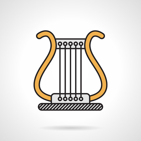 conservatory: Flat color design vector icon for yellow classic lyra on white background. Illustration