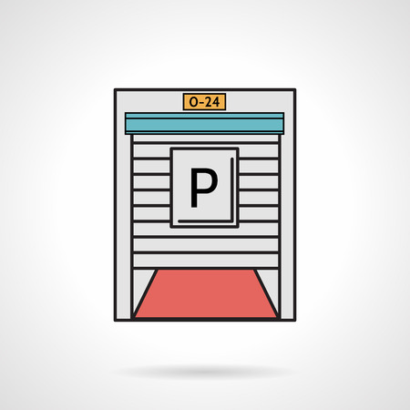 roller shutters: Flat color design vector icon for parking gate for restaurant or shop exterior on white background.