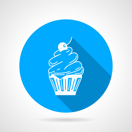 blue berry: Round blue flat vector icon with white contour classic cupcake with cream and berry on gray background with long shadows.