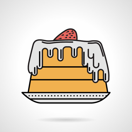 fruitcakes: Single flat color design vector icon for creamy strawberry pie on plate on white background.