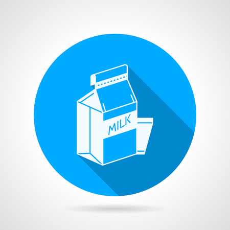pasteurized: Round blue flat vector icon with white contour pasteurized milk pack and a glass on gray background with long shadows. Illustration