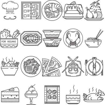 cafe food: Set of 20 black flat line vector icons for restaurant or cafe food on white background.