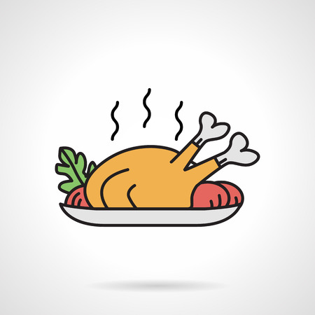 жареный: Single flat color design vector icon for roasted poultry with vegetables on white background.