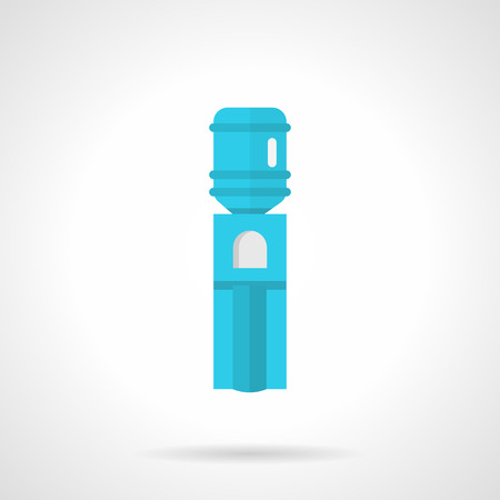 non alcoholic: Flat color design vector icon for blue modern water cooler with bottle on white background.